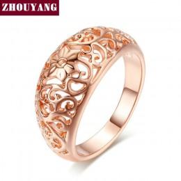 ZHOUYANG pierścień dla kobiet kwiat Hollowing craft różowe złoto kolor srebrny i czarny złoty kolor biżuteria dar przyjaźni R281