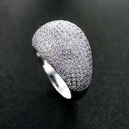 Sinerery błyszczące duże całkowicie wyłożone kryształkami pierścionki na przyjęcie kobiety niebieski kolor srebrny ślub pierścio