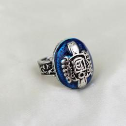 Vintage pamiętniki wampirów pierścień D Salvatore Damon Stefan Elena Punk pierścionki lazuryt niebieski kryształ Moives biżuteri