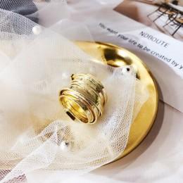 HUANZHI wielowarstwowe osobowości złoty kolor srebrny metalowe otwarte pierścienie minimalistyczny design pierścienie dla kobiet
