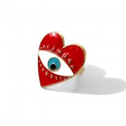 Flatfoosie 2019 regulowane piękne czerwone serce złe oko pierścienie dla kobiet moda damska minimalistyczne złote serce złe oczy