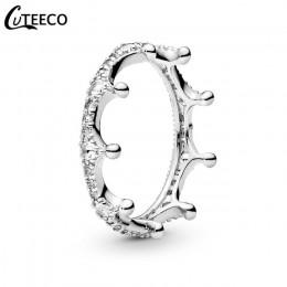 CUTEECO różowe złoto srebro cyrkon zaręczynowy pierścień kryształ obrączki dla kobiet modna biżuteria na prezent 2019 Anillos Mu