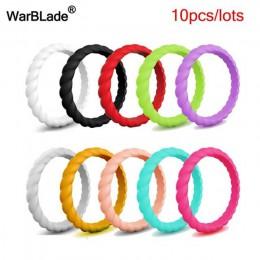 Moda 3mm cienki pleciony silikonowy pierścień dla kobiet obrączki sportowe hipoalergiczny Crossfit elastyczny tkany gumowy palec