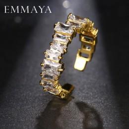EMMAYA nowe mody kobiece obrączki biżuteria złoty kolor obrączki dla kobiet CZ kamień betonowa obietnica pierścienie