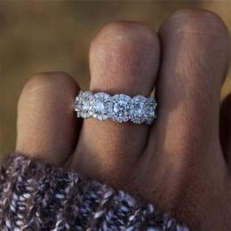 IPARAM Fashion Luxury kolor srebrny CZ obrączka damska 2020 biały AAA cyrkon kryształ biżuteria zaręczynowa dla nowożeńców Party