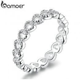 BAMOER romantyczny kolor srebrny serce na pierścień z sercem aaa cyrkonia tanie pierścienie dla kobiet biżuteria ślubna Dropship