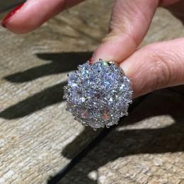 925 srebro kolor kwiat ostry duża cyrkonia kamienne pierścienie dla kobiet moda ślubna biżuteria zaręczynowa 2019