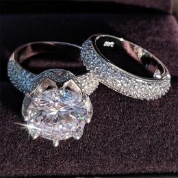 Luksusowe 11mm duża cyrkonia oryginalny 925 sterling srebrne wesele zestaw pierścieni dla kobiet bride biżuteria zaręczynowa zes