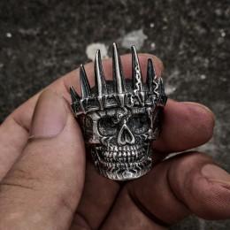 EYHIMD męskie klasyczne szlachty srebrny król korona czaszka 316L ze stali nierdzewnej w stylu motocyklowym pierścienie Punk mod
