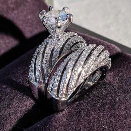 925 sterling silver luxury brand zestaw pierścieni ślubnych dla kobiet kobiet bride zaręczyny prezent na rocznicę dla pań biżute