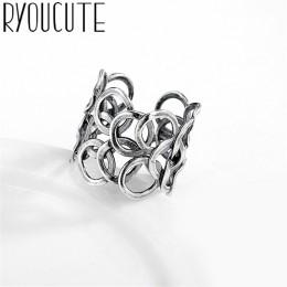 Czeski etniczne 925 Sterling Silver duże okrągłe pierścienie dla kobiet Bridal Wedding Vintage pierścionki otwarte prezenty świą