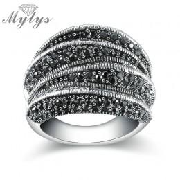 Mytys marka czarne pierścienie dla kobiet ustawienie Pave czarny Marcasite Blink Blink pierścień Fashion Design R1808