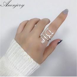 Anenjery osobowość projekt 925 srebro Wrap wokół kota pierścienie dla kobiet dziewczyna biżuteria anillos rozmiar 18mm S-R280