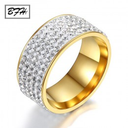 BFH 2019 moda cyrkon ślub stal nierdzewna stalowe pierścienie dla kobiet biżuteria moda zaręczyny kobiece kryształy pierścień ze
