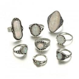 Tocona 8 sztuk/zestaw Vintage Antique srebrne pierścionki zestawy kolorowe Opal kamień Carve dla kobiet mężczyzn czeski biżuteri