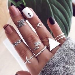 9 sztuk/zestaw Vintage Rings Lady Charm srebrny trójkąt liść samolot strzałka fala kwiat srebrny zestaw pierścieni moda impreza
