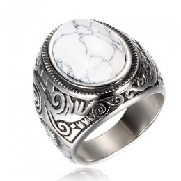 Hurtownia biżuteria Retro titanium stalowa inkrustowana trzy kolory pierścionek z onyksem mężczyzn dominujący pierścień opalowy
