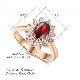 ZHOUYANG pierścionek dla kobiet czerwony kryształ elegancki pierścionek zaręczynowy obrączka różowe złoto kolor z austriackimi k