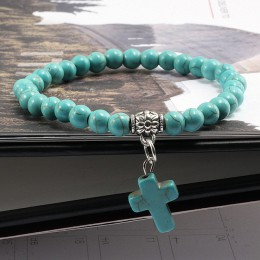 Vintage krzyż z kamienia naturalnego 6mm bransoletka z koralików urok mężczyzn niebieski Turquoises wisiorek bransoletki ze sznu