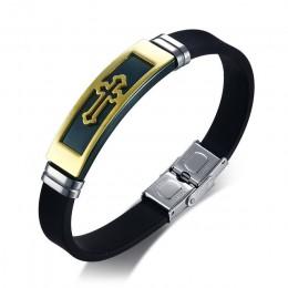 """Złoty Tone krzyż bransoletka mankietowa dla mężczyzn czarna guma bransoletki bransoletki męskie modlitwa Armhand biżuteria 8"""""""