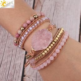 CSJA kamień naturalny bransoletka różowy skóra quartz bransoletki dla kobiet różowe klejnoty kryształowe koraliki biżuteria bohe