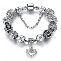 ELESHE moda kolor srebrny serce bransoletka Charms bransoletka dla kobiet DIY 925 kryształowe koraliki Fit oryginalne bransoletk