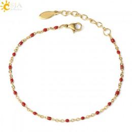 CSJA ze stali nierdzewnej stalowy łańcuch bransoletki bransoletki typu bangle dla kobiety złoty kolor Link Miyuki Femme bransole