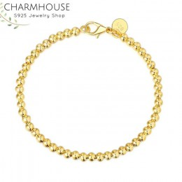 Charmhouse czyste srebro 925 biżuteria 4mm koraliki Ball Chain bransoletka dla kobiet bransoletki nadgarstek Pulseira Femme Wedd