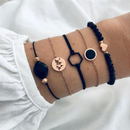 Moduł 30 style Mix mapa serce geometryczny urok zestaw bransoletek Boho czarny kamień bransoletki bransoletki typu bangle dla ko
