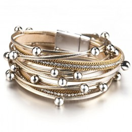 ALLYES wielowarstwowe skórzane bransoletki dla kobiet moda 2020 kryształ czeski metalowy wisiorek z koralikami Wrap bransoletka