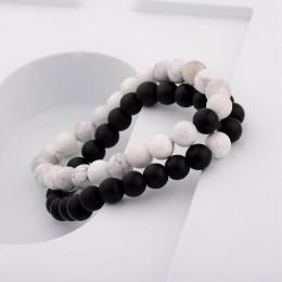 Pary odległość bransoletka z naturalnego drewna kamień biały i czarny Yin Yang bransoletki z koralików dla kobiet mężczyzn najle