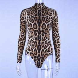 LVINMW Sexy nadruk wzór lamparta Bodycon body 2019 wiosna kobiety z długim rękawem Mock Neck obcisłe body Suit szorty kombinezon