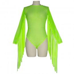 Neonowa zielona kabaretka siatka Tassel body kobiety z długim rękawem przejrzysty kombinezon odzież klubowa Rave odzież festiwal