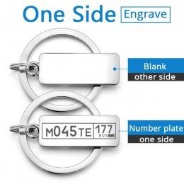 Dostosowane grawerowane brelok do logo na samochód numer tablicy spersonalizowany prezent Anti-lost brelok breloczek do kluczy P