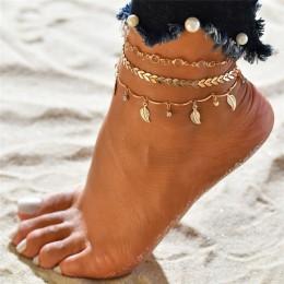 Modyle 3 sztuk/zestaw obrączki dla kobiet akcesoria do stóp letnia plaża boso sandały bransoletka kostki na nodze kobiece kostki