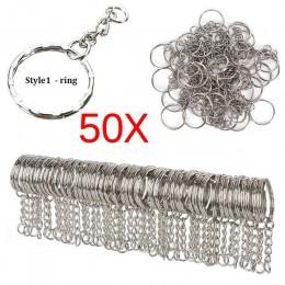 Srebrny Metal platerowany brelok brelok podział brelok breloczki do kluczy kobiet mężczyzn DIY klucz łańcuszki dodatki