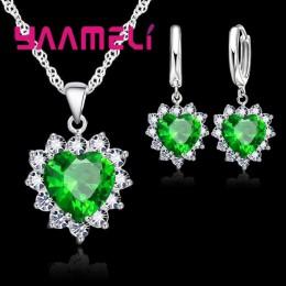 Modny 925 Sterling Silver komplet biżuterii damskiej serce CZ kamień Charm wisiorki naszyjniki kolczyki miłość prezent na roczni