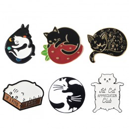 Meow Cat przedszkole emalia szpilki Box Kitten przytulanie koty odznaka niestandardowe broszka torba ubrania przypinka Cartoon b