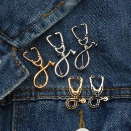 Wysokiej jakości 2 Style broszki lekarz pielęgniarka stetoskop broszka biżuteria medyczna emalia Pin Denim kurtki kołnierz odzna
