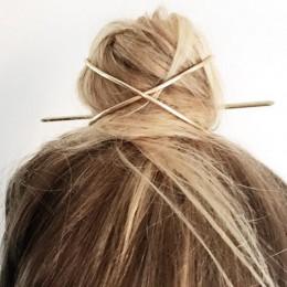 Do włosów spersonalizowane 2020 nowy w stylu Boho, na włosy akcesoria Arrival metalowy złoty wypełniony w kształcie litery X spi