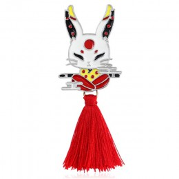 Vintage zwierząt Alloy Tassel broszka japoński Ninja królik ogień Fox wąż Kendo Sika Deer emalia Pin plecak odznaka prezenty dla