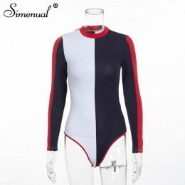 Simenual 2019 jesienna, patchworkowa body kobiety odzież moda streetwear z długim rękawem bandaż sexy body kobieta one piece