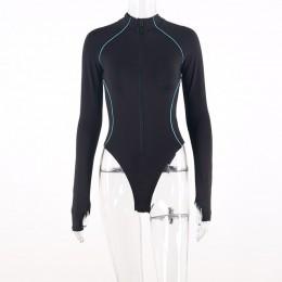 Hugcitar z długim rękawem, odblaskowy pasek linii patchwork zamek błyskawiczny bodycon body 2019 jesień zima kobiety streetwear