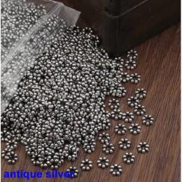 500 sztuk/partia Spacer metalowe koraliki stopu cynku kule DIY akcesoria do wyrobu biżuterii 5mm otwór: 2mm (K02822)