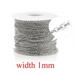 1mm 1.5mm 2mm szerokość srebrna róża złoto stal nierdzewna metalowy kabel Link Chain dla naszyjniki bransoletki tworzenia biżute