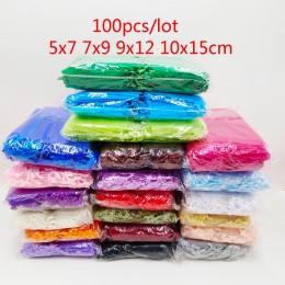 100 sztuk torba z organzy 5x7 7x9 9x12 10x15cm opakowanie na biżuterie torby z organzy woreczek na upominek weselny etui urodzin