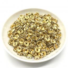 50 sztuk 8mm Rhinestone Rondelles koraliki dystansowe luzem koraliki metalowe kryształowe koraliki do tworzenia biżuterii DIY ak