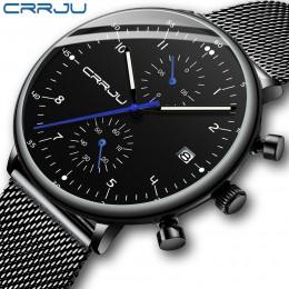 Zegarek męski CRRJU luksusowa tarcza marka mężczyźni zegarek ze stali nierdzewnej męska wojskowy wodoodporny data zegarki kwarco