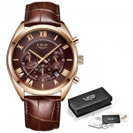 LIGE zegarek dla mężczyzn Top marka luksusowy wodoodporny 24 godziny data zegar kwarcowy brązowy skórzany zegarek sportowy Relog