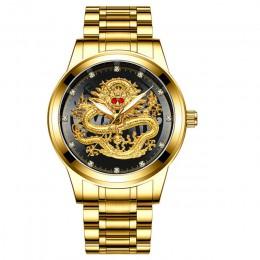 Moda mężczyzna zegarka złote męskie zegarki Top marka luksusowe wodoodporny pełny stalowy smok zegar kwarcowy mężczyzna 2020 Rel